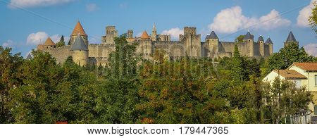 Cityscape with medieval castle of Carcassonne, Roussillon, Toulouse, France