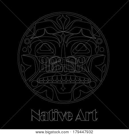 Vector illustration of the sun symbol. Modern stylization of North American and Canadian native art in white and on black with native ornament