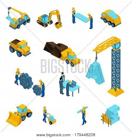 Set Isometric icons for construction workers crane machinery power transport managers laptop clothes isolated on white background.