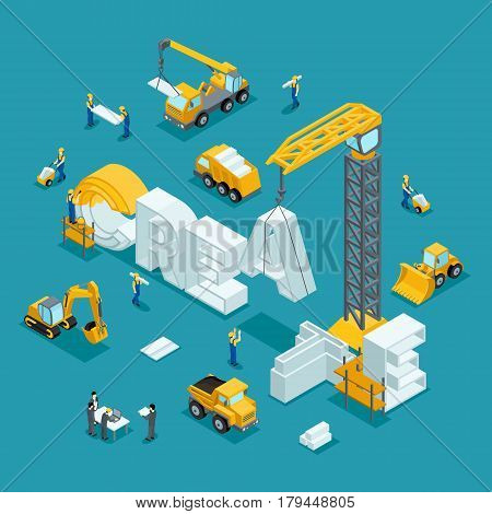 Isometric 3D Building of business ideas brand creative on a dark background. Working people in the construction work. The development plan of the invention. Building Isometric