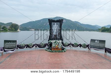 HUA HIN, THAILAND - JANUARY 20, 2017: Image in remembrance of King Bhumibol Adulyadej at a lake south of Hua Hin.  Signs of remembrance of the king are visible all over Thailand.