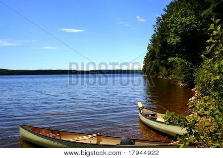 Two canoes on the lake