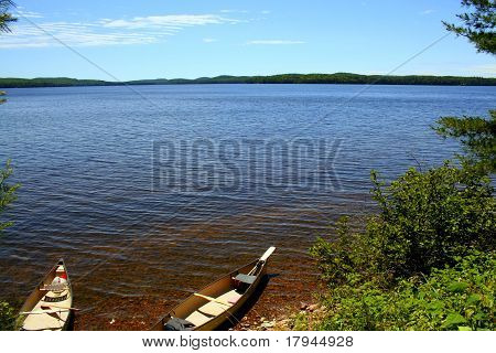 Two canoes docked by the shore