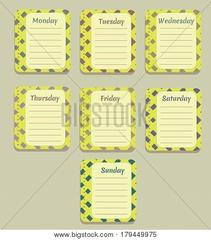 The sheets of the planner for weekly planning in a pretty box with the names of the days of the week. Diary.Vector illustration.