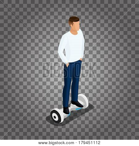 Isometric people, a man playing a game, 3D ride, ride control. GyroScooter on a transparent background. Vector illustration.