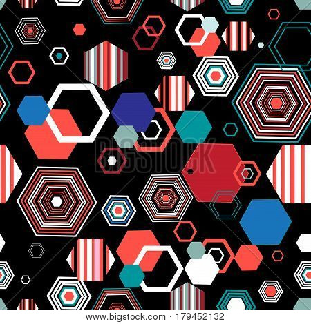 Seamless bright graphic pattern from different diamonds