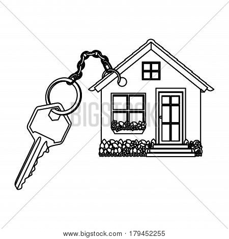 silhouette realistic metal key with keyring in house shape vector illustration