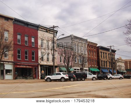 Clayton New York USA. March 29 2017 . Downtown Clayton NY on an overcast early spring morning