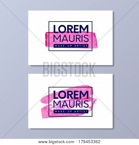Make-up artist business card vector templates. Paint pink brush texture like lipstick mark design in frame with logo.