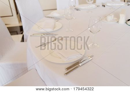 Empty cutlery on the table. Table setting