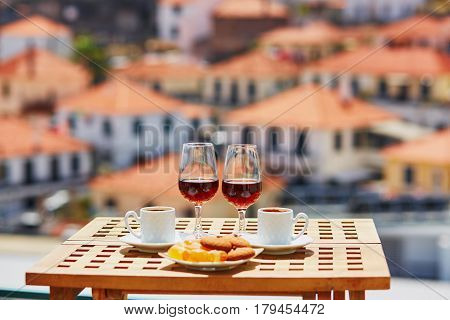 Madeira Wine, Coffee And Sweets With View To Funchal, Madeira, Portugal