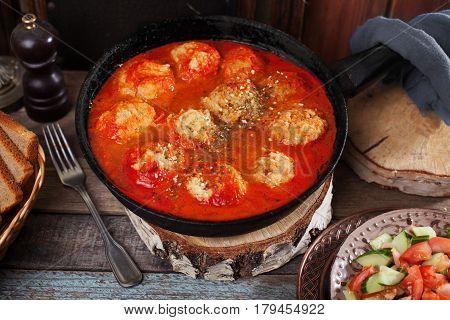 pan vegan meatballs Tomato sauce, on a plate top view still life still life