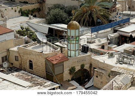 JERUSALEM ISRAEL - MARCH 25 2017: View from the Shechem Gate to the Mosque in the Muslim Quarter of the Old City of Jerusalem