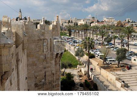JERUSALEM ISRAEL - MARCH 25 2017: View from the Shechem (Damascus) gate to Jerusalem