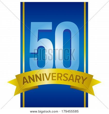 Vector label for 50th anniversary with large digits on blue background with some golden elements.