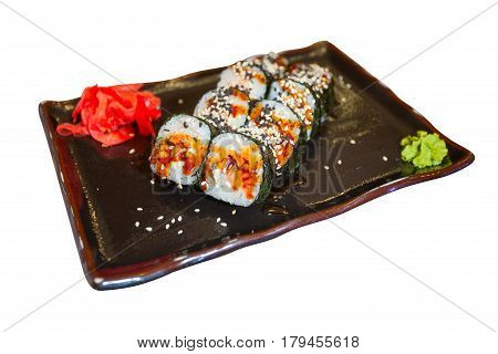 Japanese Rolls With Eel On Black Plate