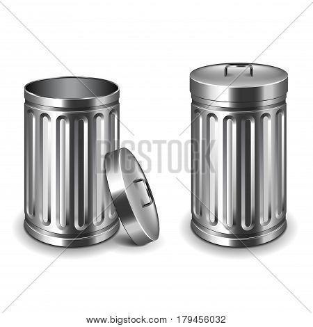 Street trash bin isolated on white photo-realistic vector illustration