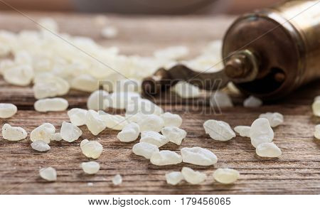 Chios Mastic Tears On Wooden Background
