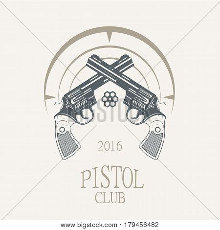 revolvers gun pistols vintage style- vector illustration