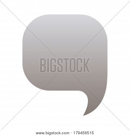 silhouette of rounded square speech in grayscale color vector illustration