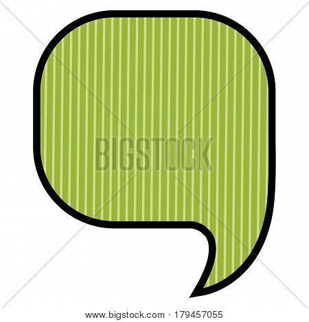 silhouette of rounded square speech in green background with vertical lines vector illustration