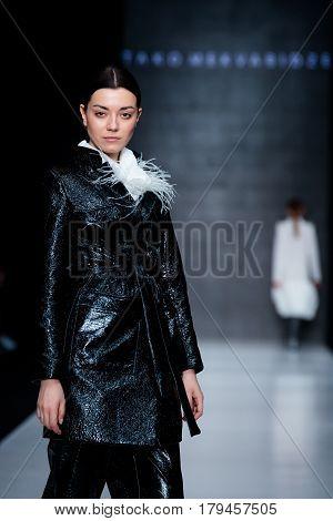 MOSCOW RUSSIA - MARCH 16 2017: Model walk runway for TAKO MEKVABIDZE catwalk at Fall-Winter 2017-2018 at Mercedes-Benz Fashion Week Russia.