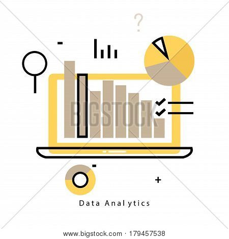 Data analytics flat line business vector illustration design banner. Data monitoring, web analytics information, financial statistics design for mobile and web graphics