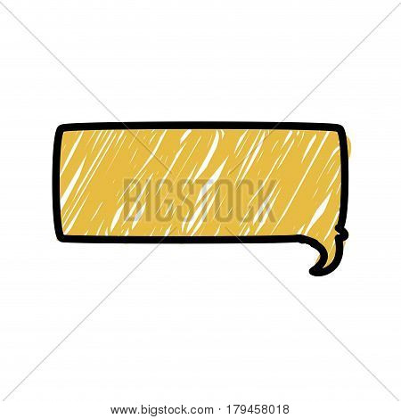 yellow color pencil drawing silhouette of rectangle speech vector illustration