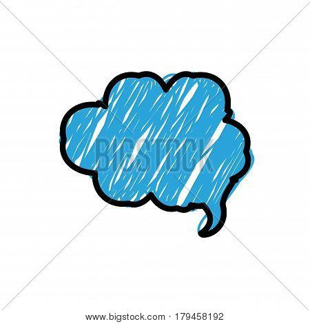 blue color pencil drawing silhouette of cloud speech vector illustration