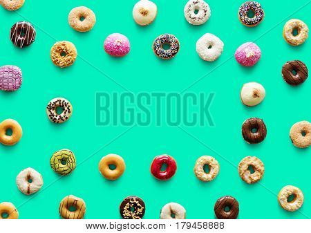 Varities of donut flavor with copy space