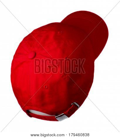 Hat Isolated On White Background. Hat With A Visor . Red Hat