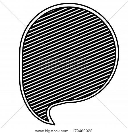 monochrome silhouette with circular speech with diagonal lines background vector illustration