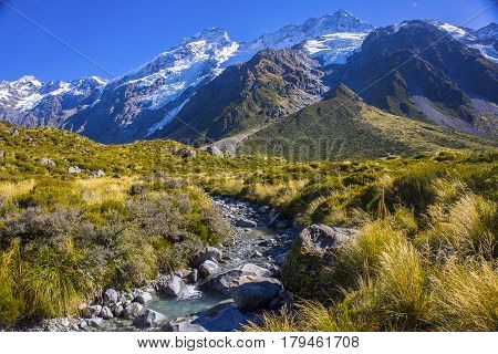 Mount Tasman Valleys , Aoraki Mt Cook National Park Southern Alps Mountain South Island New Zealand.