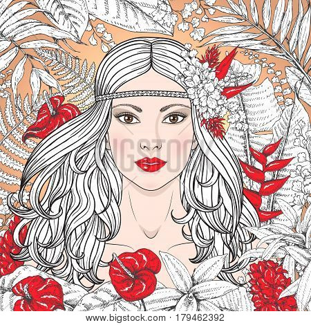 Hand drawn girl branches and leaves of tropical plants. Partially colored floral illustration coloring page for adult. Woman with red flowers. Vector sketch.