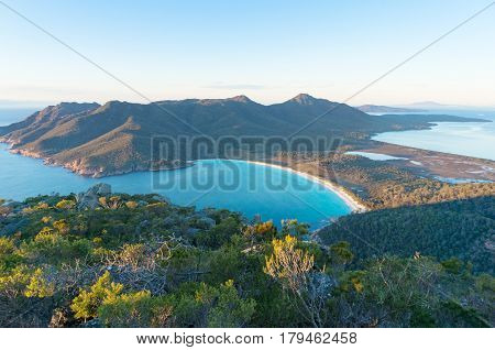 Aerial View Of Picturesque Beach And Mountains
