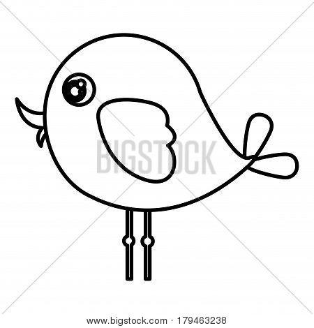 beautiful cartoon bird with big ayes, vector illustration