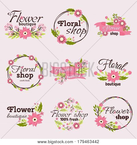 Bright logo for flower shop. Set hand drawn emblems and floral signs for flower shop. Flower shop labels. Doodles, sketch floral and gardening logos and signs trendy linear style emblems flower shop.
