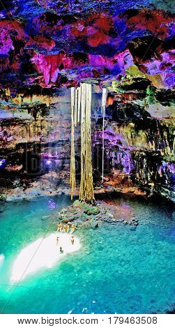 Cenote Samula near Valladolid city, Yucatan, Mexico. Famous natural landmark.