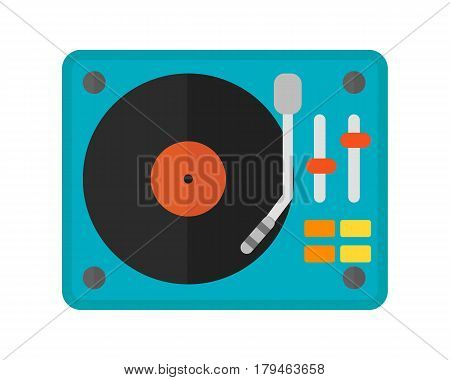 Dj music mixer equipment channels discotheque technology party nightclub mixing turntable volume disc control. Vector stylized instrument electronics dance illustration.