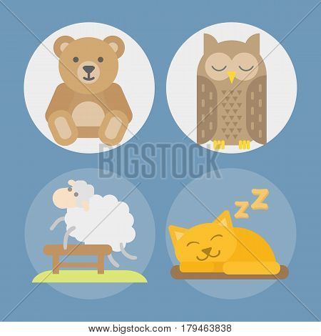 Sleeping animals icons set sweat dream vector illustration. Counting sheep to fall asleep vector illustration. Sleeping owl and cat. Gift toy teddy bear isolated.