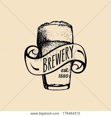 Kraft beer glass logo. Lager cup retro sign. Hand sketched ale illustration. Vector vintage homebrewing label or badge