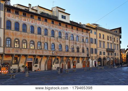 FLORENCE, ITALY - January 19, 2016: Historical buildings in the Piazza Santa Croce, one of the main squares of Florence, Italy