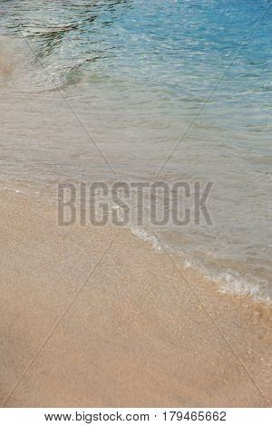 Peaceful Beach Background. White Sand And Turquoise Sea Water. Ocean Coastline Of Nice Sand And Calm