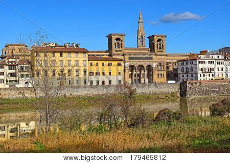 FLORENCE, ITALY - Jan 18, building of the National Central Library of Florence, Italy Jan 18, 2016 library was founded in 1714 when scholar Antonio Magliabechi bequeathed his entire collection of books, 30,000 volumes