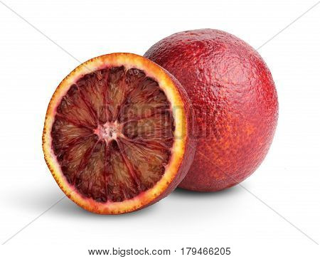 Cut Blood red orange fruit on white clipping path