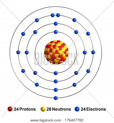 3d render of atom structure of chromium isolated over white background Protons are represented as red spheres neutron as yellow spheres electrons as blue spheres