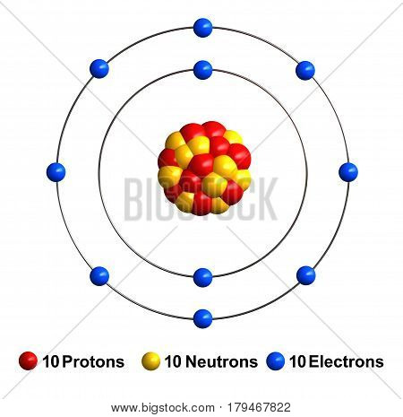 3d render of atom structure of neon isolated over white background Protons are represented as red spheres neutron as yellow spheres electrons as blue spheres