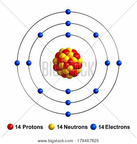 3d render of atom structure of silicon isolated over white background Protons are represented as red spheres neutron as yellow spheres electrons as blue spheres
