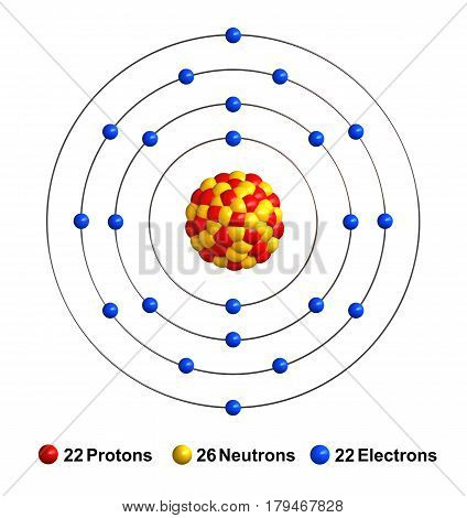 3d render of atom structure of titanium isolated over white background Protons are represented as red spheres neutron as yellow spheres electrons as blue spheres