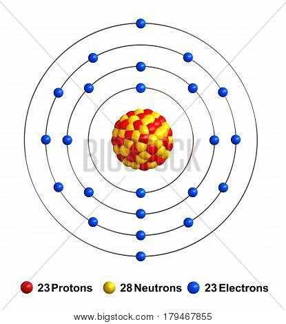 3d render of atom structure of vanadium isolated over white background Protons are represented as red spheres neutron as yellow spheres electrons as blue spheres